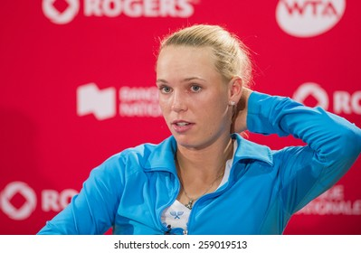 MONTREAL - AUGUST 8: Caroline Wozniacki of Denmark during press conference after her quarter final match loss to Serena Williams of USA at the 2014 Rogers Cup on August 8, 2014 in Montreal, Canada