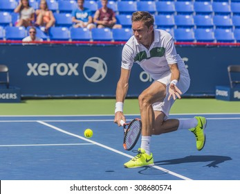 MONTREAL - AUGUST 8: Nicolas Mahut of France win over Isade Juneau of Canada during his qualifying match at the 2015 Rogers Cup on August 8, 2015 in Montreal, Canada