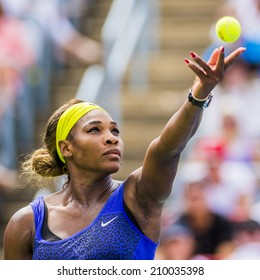MONTREAL - AUGUST 9: Serena Williams of USA in her semi final loss to her sister Venus Williams of USA at the 2014 Rogers Cup on August 9, 2014 in Montreal, Canada.