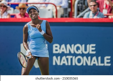 MONTREAL - AUGUST 9: Venus Williams of USA in her semi final win over her sister Serena Williams of USA at the 2014 Rogers Cup on August 9, 2014 in Montreal, Canada.