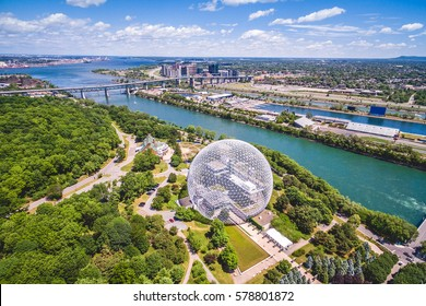 Montreal Biosphere and Jacques Cartier bridge aerial view, Montreal, Quebec, Canada.