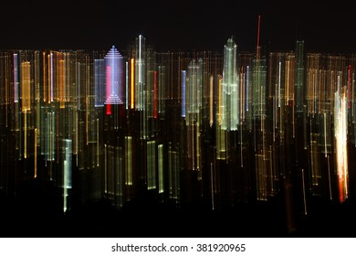 Montreal by night - abstract, vertical, light effects