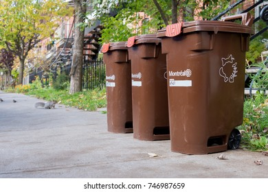 Montreal, CA - 1 November 2017: brown compost containers on the street
