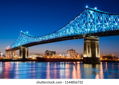 Montreal, CA - 13 April 2017: The Jacques-Cartier Bridge tests its new lighting system created by Moment Factory before official launch on May 17, 2017.