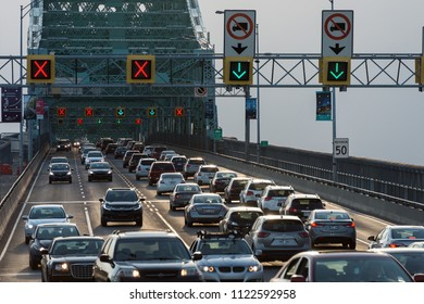 MONTREAL, CA - 18 May 2017. Traffic on Jacques Cartier bridge crossing Saint Lawrence river.