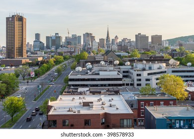 Montreal, CA - 18th May 2015. Montreal Ville-Marie district from Jacques Cartier Bridge, at sunset.