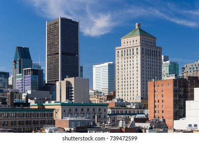 Montreal, CA - 21 October 2017: Montreal Skyline from the Old Port