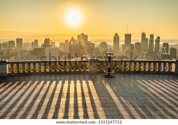 montreal, CA - 21 September 2019: Montreal Skyline from Kondiaronk Belvedere at sunrise