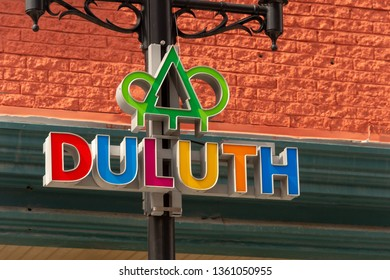 Montreal, CA - 5 April 2018 - Duluth Street Logo on a lampost