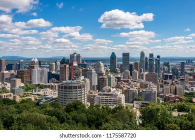 Montreal, CA - 8 September 2018: Montreal skyline from Kondiaronk Belvedere located at the top of the Mont-Royal mountain.