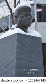 MONTREAL CANADA 02 13 2017: JFK bronze statue, The monument was produced by Paul Lancz in 1986 and donated to the city by the Birks Family Foundation..John Fitzgerald Kennedy was 35th President  USA