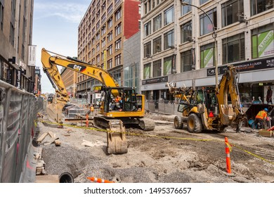 Montreal, Canada - 03 September 2019: Construction site on Sainte-Catherine street.
