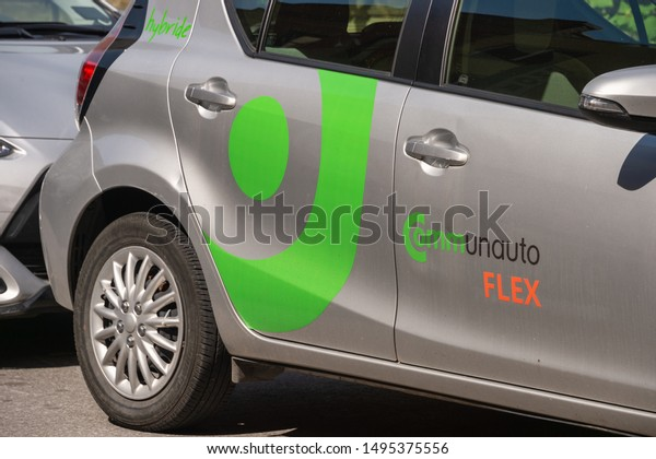 Montreal, Canada - 03 September 2019: Communauto Flex & Car2Go Cars.  Communauto & Car2Go provide carsharing services in Quebec.