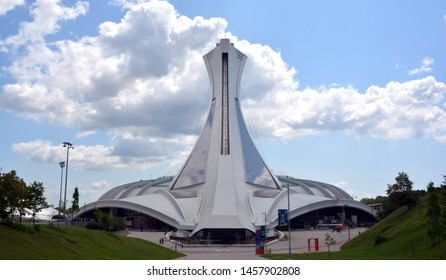 MONTREAL CANADA 04 12 2019. Montreal Olympic Stadium and tower. It's the tallest inclined tower in the world.Tour Olympique stands 175 meters tall and at a 45-degree angle