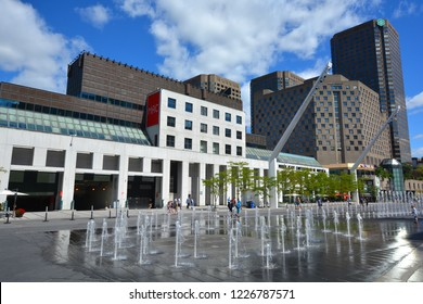 MONTREAL CANADA 05 16 2017: Musee d'art contemporain de Montreal. The MACM was the first institution in Canada devoted exclusively to contemporary art and Complexe Desjardins is a mixed-use office