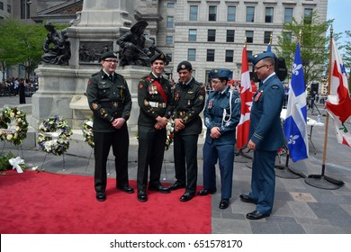 MONTREAL CANADA 05 17 17: Canadian soldiers participate at the 375 anniversary of the foundation of Montreal by Paul Chomedey de Maisonneuve, Jeanne Mance and a few French colonists in May 17, 1642