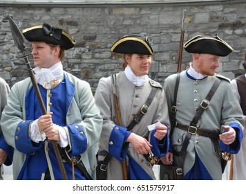 MONTREAL CANADA 05 17 17: French regime soldiers for the 375 anniversary of the foundation of Montreal by Paul Chomedey de Maisonneuve, Jeanne Mance and a few French colonists in May 17, 1642