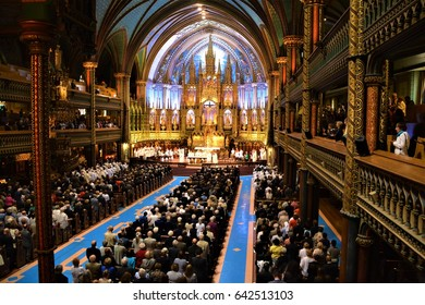 MONTREAL CANADA 05 17 17: The Notre-Dame church for the 375 anniversary mass for the foundation of Montreal by Paul Chomedey de Maisonneuve, Jeanne Mance and a few French colonists in May 17, 1642