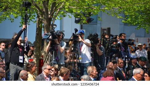 MONTREAL CANADA 05 17 17: Press photographers at the 375 anniversary of the foundation of Montreal by Paul Chomedey de Maisonneuve, Jeanne Mance and a few French colonists in May 17, 1642