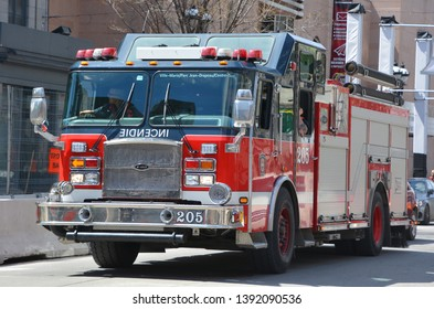 MONTREAL CANADA 05 05 2019: Fire engine service de securite incendie de Montreal the SIM is the 7th largest fire department in North America.