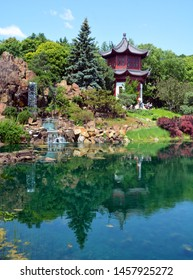 MONTREAL CANADA 07 12 2019: Chinese garden of Montreal botanical garden is considered to be one of the most important botanical gardens in the world due to the extent of its collections