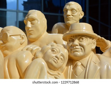"MONTREAL CANADA 08 10 2016: The ""Illuminated Crowd"" is a public sculpture, made in 1985 from stratified polyester resin with polyurethane paint"
