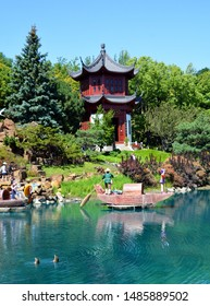 MONTREAL CANADA 08 20 2019: Chinese garden of Montreal botanical garden is considered to be one of the most important botanical gardens in the world due to the extent of its collections