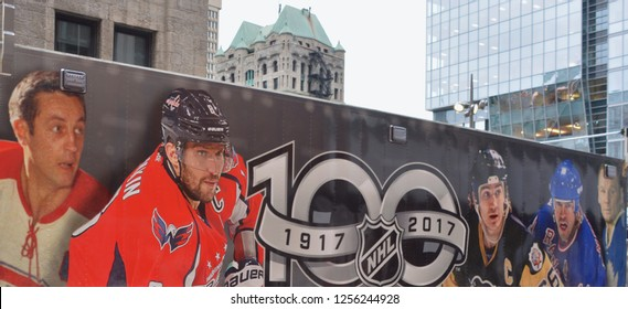MONTREAL CANADA 11 19 17: Hockey fans van for National Hockey League (NHL) and Montreal Canadiens events on Nov. 17-19, 2017 where the NHL was founded at the Windsor Hotel in 1917