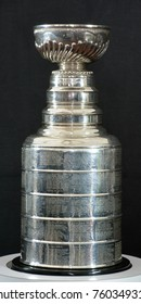 MONTREAL CANADA 11 19 17: The Stanley cup for 100th anniversary of National Hockey League (NHL) and Montreal Canadiens events on Nov. 17-19, 2017 where the NHL was founded at the Windsor Hotel in 1917