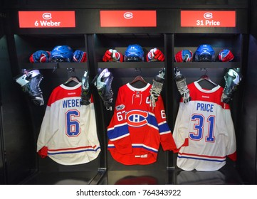 MONTREAL CANADA 11 19 17: Montreal Canadiens locker room replica National Hockey League (NHL) and Montreal Canadiens events on Nov. 17-19, 2017 where the NHL was founded at the Windsor Hotel in 1917