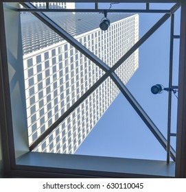 Montreal. Canada - 12 March, 2016: Skyscraper through the window in Montreal downtown.