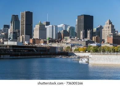 Montreal, Canada - 12 October 2017: Montreal Skyline from Parc de la Cité du Havre