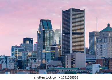 Montreal, CANADA - 13 July 2017: Montreal skyline in summer from King Edward Quay Belvedere