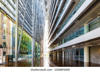 Montreal, Canada - 14th September 2017: The Palais des Congres, or Palace of Congress, in downtown Montreal, Canada. AThe vast hallway of this Internationl Conference Centre.