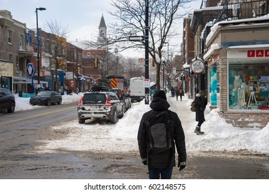 Montreal, Canada - 16 March 2017: Mont-Royal Avenue after snow storm