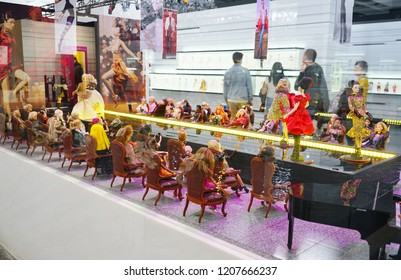 MONTREAL, CANADA -17 OCT 2018- View of the Barbie Expo, a large fashion exhibit of Barbie Dolls on display at the Cours Mont-Royal indoor shopping mall in downtown Montreal, Quebec.