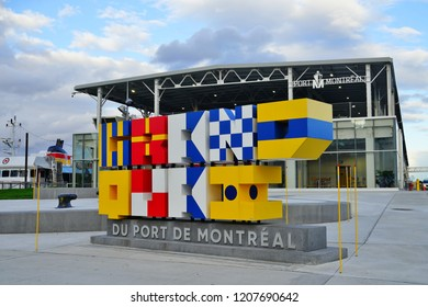 MONTREAL, CANADA -17 OCT 2018- View of the Grand Quai (Grand Quay) pier building cruise terminal and exhibit space located in the Vieux Port de Montreal harbor in Quebec, Canada.