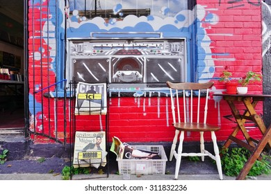 MONTREAL, CANADA -18 AUGUST 2015- Creative graffiti street art murals line the streets and back alleys of Montreal, the largest city in Quebec, especially along Boulevard Saint-Laurent.