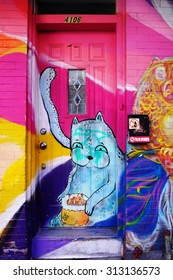 MONTREAL, CANADA -18 AUGUST 2015- Creative graffiti street art murals line the streets and back alleys of Montreal, the largest city in Quebec.
