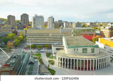 MONTREAL, CANADA -18 OCT 2018-View of the Place des Arts, a major performing arts complex including the Opera de Montreal (Montreal Opera) in the Quartier des Spectacles in Montreal, Quebec, Canada.