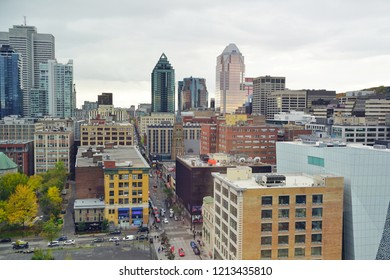 MONTREAL, CANADA -18 OCT 2018-View of buildings in downtown Montreal in the Quartier des Spectacles in Montreal, Quebec, Canada.