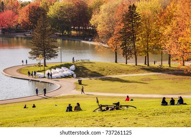Montreal, Canada - 18 October 2017: People enjoy a warm autumn day in the Mont Royal Park