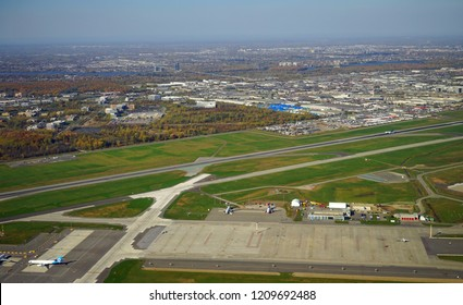 MONTREAL, CANADA -19 OCT 2018- Aerial view of the Montreal Pierre Elliott Trudeau International Airport (YUL), formerly known as Dorval. It is the busiest airport in Quebec.