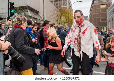 Montreal, Canada - 28 October 2017: People taking part in the Zombie Walk in Montreal Downtown