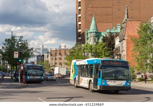 Montreal, Canada - 31 may 20147: STM public transit bus on Sherbrooke street