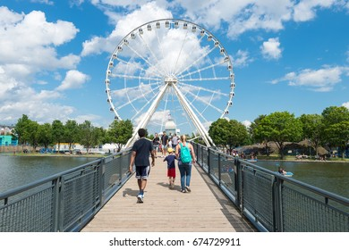 Montreal, Canada - 9 July 2017: The Montreal Observation Wheel (Grande Roue de Montreal) in the Old Port of Montreal