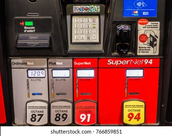 Montreal, Canada _ December 1, 2017. Petro Canada Gas Pump and Prices