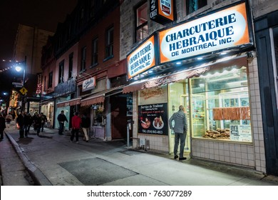 Montreal, Canada _ November 22, 2017. Schwartz's, Famous Montreal Hebrew style smoked-meat restaurant. Jewish Kosher Meat and Deli Food Available.