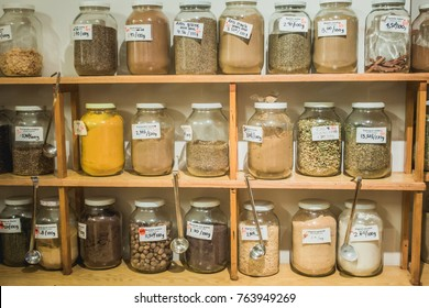 Montreal, Canada _ November 27, 2017.Spices and Herbs Products Available in Bulk at Frenco, a Zero Waste Company in Montreal.