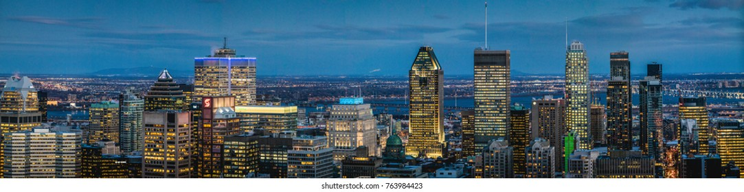 Montreal, Canada _ November 27, 2017. Super large Resolutions of a Cold Snowy Montreal Downtown Night View from the Top of Mount Royal.